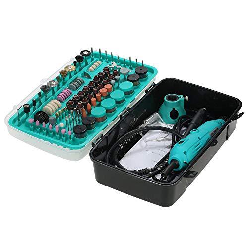 QWERTOUY 228 stuks mini-boormachine elektrische rotary drill grinder polisch slijpen gereedschapsset met 6 versnellingen variabele snelsteekgereedschappen