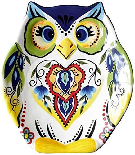 XUEXIU Porcelana Premium Tazón Plato De Cerámica Creativa Placa Occidental Plato De Postre Irregular Búho Plato De Desayuno Vajilla De La Casa for Catering and Home (Color : 24 * 21 * 2.7cm)