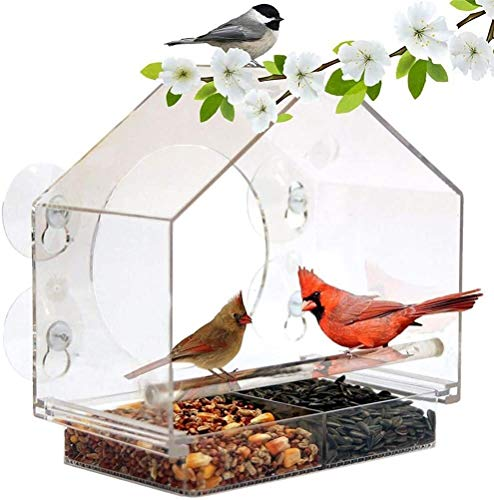 Automatische feeder voor kleine dieren Window Bird Feeder met zuignappen, acryl Crystal Clear Outdoor Birdfeeders for wilde vogels, Easy Clean en Fill, Gemakkelijk See kardinalen, vinken en Orioles Fe