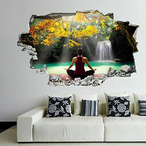 Yoga Waterfall 3D Wall Art Sticker Mural Decal Poster Decoración Para El Hogar Gk3 agujero de la pared 50X70 cm
