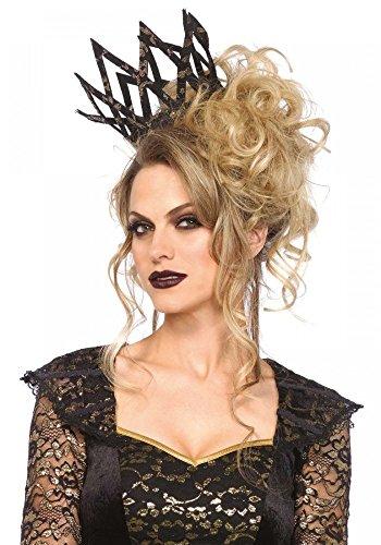 Schwarze Stoffkrone mit Goldenem Metallic-Dekor von Leg Avenue Königin Krone Dark