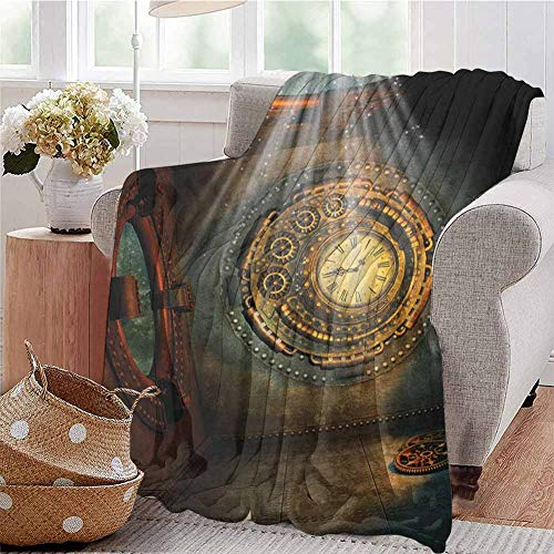 Luoiaax Fantasy Commercial Grade Printed Blanket Fantasy Scenery with Clock Dream Sky Rays from The Ceiling Fictional Artwork Queen King W60 x L50 Inch Brown and Teal