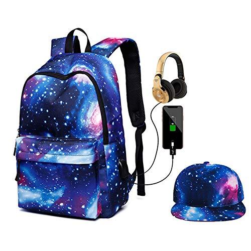 Kids Galaxy Rucksack, Student Schulranzen Bookbag mit USB-Ladeanschluss Schultasche Rucksack Daypack für Jungen Mädchen Teens (Galaxy Blue)