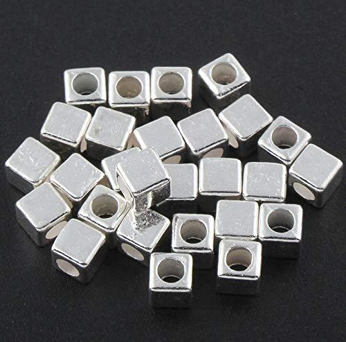40 x Tibetan Silver Beads 3 x 3 mm Metal Spacer Cube Jewellery Beads 3 x 3 mm Metal Beads