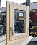 Ventana de madera laminada en bruto cm 60 x 60 cm alto batiente – Doble cristal – Asa – Lijada...