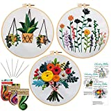 Nuberlic 3 Sets Embroidery Kit Cross Stitch Kits for Adults Include 3 Embroidery Cloth with Floral Pattern, 3 Embroidery Hoops, Threads and Needles