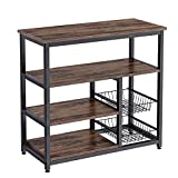Kitchen Baker's Rack, Redriver Coffee Bar Table with 2 Wire Baskets,4-Tier + 4-Tier Microwave Stand, 35.4' Vintage Utility Storage Shelf for Spice Rack Organizer Workstation - Coffee Bar Rustic Brown