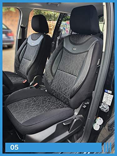 Maß Sitzbezüge kompatibel mit Opel Mokka X Fahrer & Beifahrer ab BJ 2016-2018 Farbnummer: 05