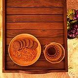 Hashcart Indian Rosewood Sheesham Wood Hecho a mano y hecho a mano Vajilla de comedor de madera Bandeja para servir, Decoración de mesa
