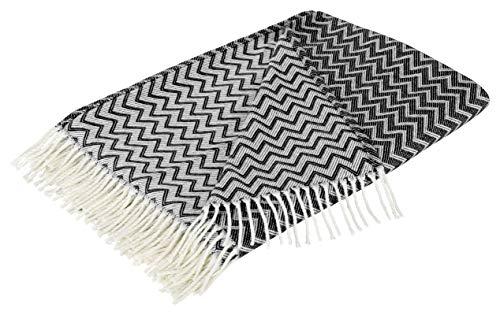 Moon Wohndecke Zick-Zack Muster mit Fransen Tagesdecke leicht & kuschelig 150x200 (weiß/schwarz)
