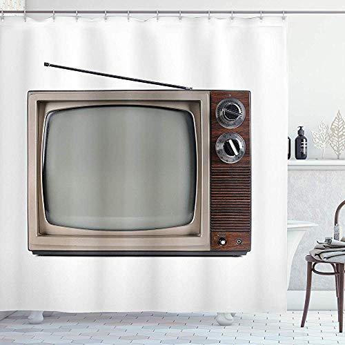 FANCYDAY 1950 douchegordijn, oude televisie met antenne uitzendscherm antieke TV historisch filmscherm, doek witte Umber
