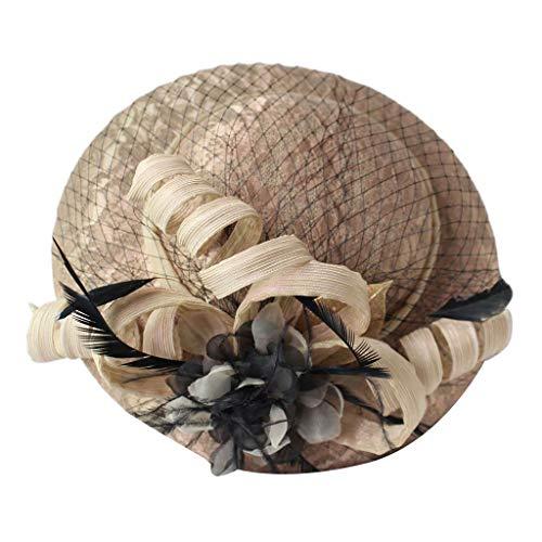 Damen Fascinator Pillbox Hut Samt Spitze Jacquard Mini Feder Top Cap Cocktail Tee Party Mesh Band Haar Clip Bankett Kostüm