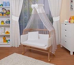 WALDIN Baby Beistellbett mit Matratze und Nestchen, höhen-verstellbar, 16 Modelle wählbar, Buche Massiv-Holz natur unbehandelt,Große Liegefläche 90x55cm,weiß