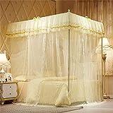 Pink Gelb Blau ThreeDoor Princess Net Doppelvorhang Vorhang Bett Vorhang Baldachin Net Full Queen Extra großes Netz Gelb