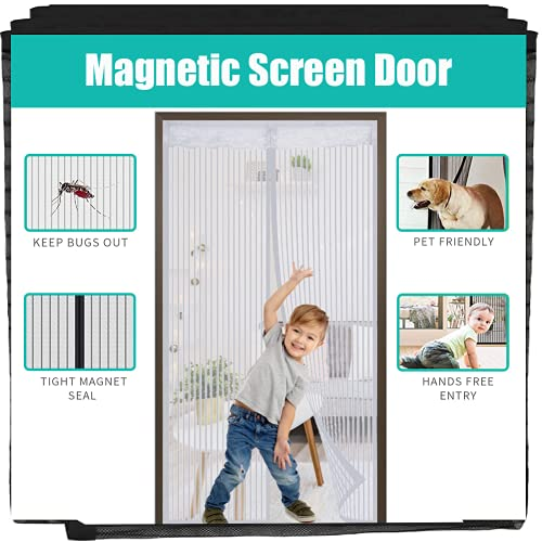 """YAPENG Magnetic Screen Door Heavy Duty Bug Mesh Curtain with Powerful Magnets and Full Frame,Insect Protection Door No Gap Keep Bugs Out Lets Fresh Air in 36""""83"""" (White)"""