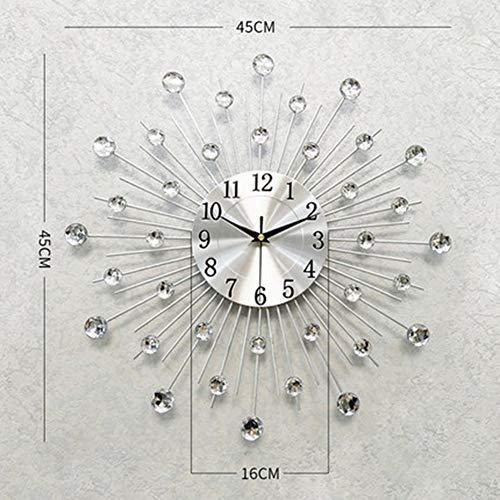 Metalen wandklok, Modern Rond Ontwerp Diamond klok, decoratie woonkamer en slaapkamer wandklok-zilverachtige,D