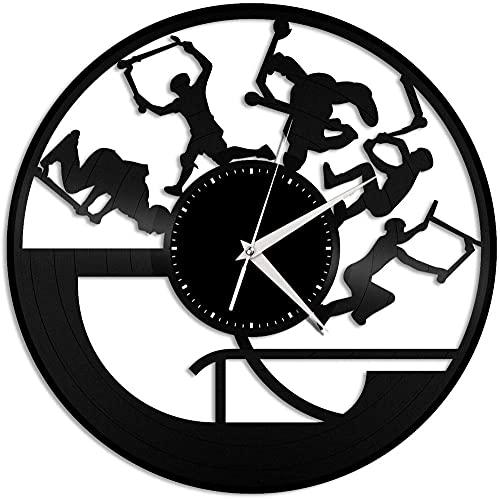 Stunt Scooter Reloj de Pared de Vinilo Reloj de Pared con Disco de Vinilo Decoración de habitación única Regalo Hecho a Mano