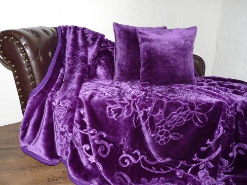 Natur-Fell-Shop 3tlg. Set Luxus Kuscheldecke Tagesdecke Decke lila/violett 160x200cm+ 2 Kissen 40x40cm
