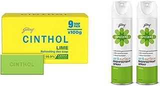 Cinthol Lime Bath Soap - PO9 (100g) & Godrej Protekt Disinfectant Spray, Citrus - PO2 (240ml each)