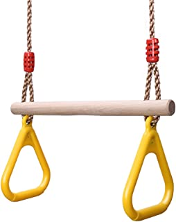 YOHOOLYO Children Trapeze Swing Bar with Rings Wooden Playset with Plastic Rings Gym Rings for Kids (Yellow)