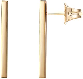 PAVOI 14K Gold Plated Sterling Silver Post Dainty Mini Bar Stud Earrings | Gold Earrings for Women