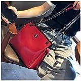 GHJL Cuero Genuino Mujer Cadena Bolsos De Hombro Totalizador Manija Superior Satchel Bolsos Hombro Bolso Totalizador (Color : Red)