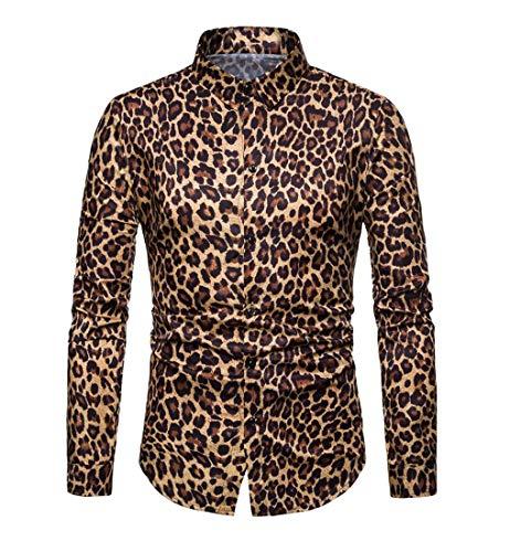 Macondoo Los Hombres Leopardo Slim Fit de Manga Larga Camisa de botón Print Top Yellow M