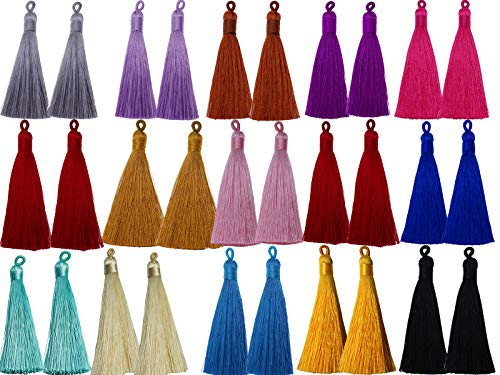 PAMIR TONG 8cm Chinese Knot Tassels Handmade Rayon Silk Tassels for Crafts,Bookmark,Necklace & Jewelry Making, (30pcs Mixed)