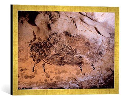Gerahmtes Bild von AKG Anonymous Höhlenmalerei in Lascaux, Frankreich, Kunstdruck im hochwertigen handgefertigten Bilder-Rahmen, 60x40 cm, Gold Raya