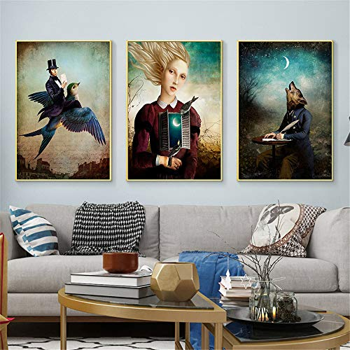 GIRDSS Christian Schloe Plakat Surrealismus Kunst Wandkunst Wohnzimmer Dekoration Wandbild -40X60cmx3 Rahmenlos