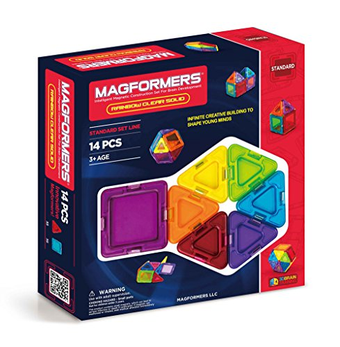 Magformers Rainbow Clear Solid Set (14-Pieces) Basic Magnetic Building Blocks, Educational Magnetic Tiles Kit , Magnetic Construction STEM Set