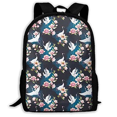 VJSDIUD Watercolor Crane And Flowers Pattern Travel Zaino Cartellas for Teens Kids Boys Girls, Casual Daypack Zainos Bookbag, Water Resistant College Travel Daypack