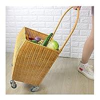 植物本物のつるショッピングカート手作りのトロリーバスケットショッピングクラシックなスタンドポスト織りダブルリングキャスターデザイン軽量移動しやすいトロリー
