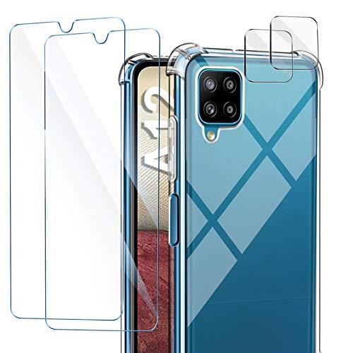 AROYI Funda Compatible con Samsung Galaxy A12, 2 Pack Cristal Templado y 2 Pack Lente de cámara, Carcasa Suave TPU Silicona Airbag Anti-Choque - Transparente