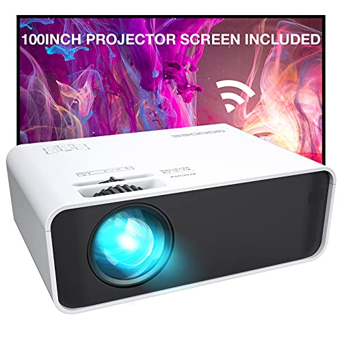 Projector, GooDee WiFi Mini Projector with Projector Screen, 7000L Synchronize Wireless Video Projector LED 1080p Full HD, Portable Home Movie Projector Support TV Stick/DVD/USB, iOS/Android Phone