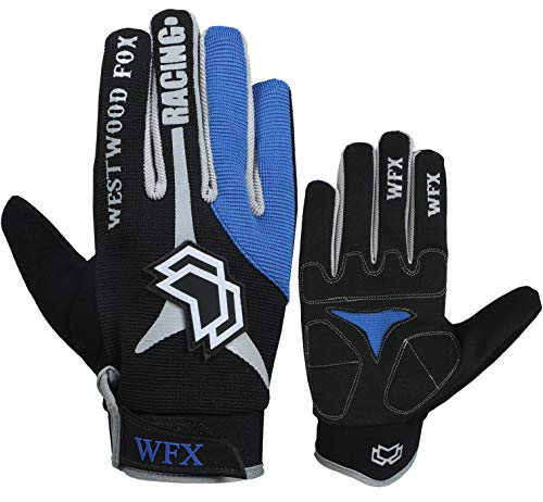 Cycling Gloves for Men's Full Finger Padded Outdoor Mountain Bike MTB Glove Breathable SBR Pads Climbing Bicycle Racing (Large, Blue)