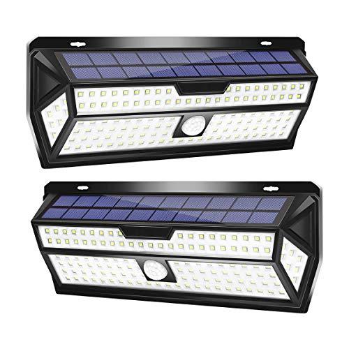 LE Solarlampen für Außen mit Bewegungsmelder, 2er 132 LED 6500K Solarleuchte Aussen, Solar Aussenleuchte IP64 Wasserdicht, Wandleuchte 270 °Winkel für Garten, Balkon, Garage, Hof