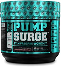 PUMPSURGE Caffeine Free Pump & Nootropic Pre Workout Supplement - Non Stimulant Preworkout Powder & Nitric Oxide Booster - 20 Servings, Strawberry Lemonade Flavor