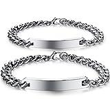 Keybella - Pulseras de acero inoxidable para parejas, para él y ella, con circonitas, negro y oro rosa, para San Valentín o Navidad Coppia-argento