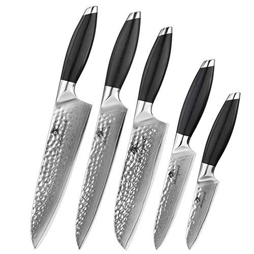 LQCHH 5PCS Damaskus Messerset japanischen geschmiedete VG10 Damaszenerküchenmesser...