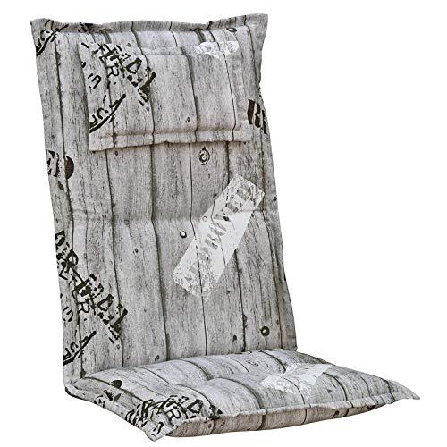 Kettler Polen 1 Gartenpolster mit Kopfkissen in grau gestreift Sessel Hochlehner Auflagen Polster Kissen Dessin K778