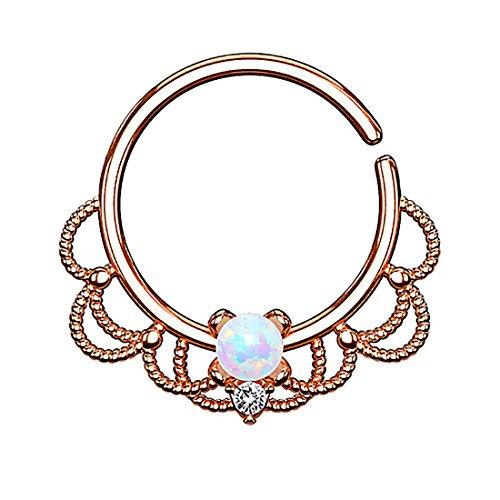 Piercingfaktor Piercing Ring Continuous Tribal mit Opal Ohr Nase Lippe Brust Intim Septum Tragus Helix Hufeisen Horseshoe Rosegold Weiß