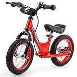 ENKEEO Bicicleta sin Pedales para Niños, Bicicleta de Equilibrio 12 Pulgadas, Asiento Ajustable y Manillares Tapizados para Niños Pequeños de Menos de 110 cm de Altura, Capacidad 50kg,