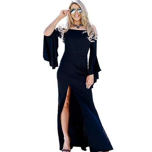 fd048a05b57 LaCouleur Women s High Slit Dress Off The Shoulder Bell Sleeve Mermaid Long  Maxi Evening Dress Gown