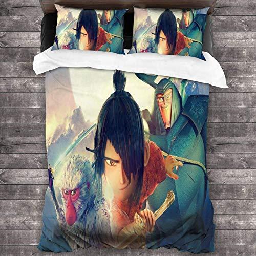 shenguang Cartoon Kubo-Two-Strings Bettwäsche 3-teiliges Set mit 1 Bettbezug + 2 Kissenbezügen, weichem Mikrofaserstoff-Schrumpf-verblassen beständig-pflegeleicht-Beste Bettwäsche für Männer Frauen