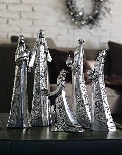 Pureday Krippenfiguren-Set - Weihnachtsdeko - Adventsdeko - Edel - Antik-Silber - 5 Teile