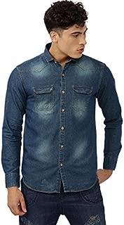 Campus Sutra Men's Plain Regular Fit Casual Shirt (AZ18SHRT_DSHIRT4_M_PLN_AZ_Denim,Yellow_S)