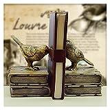 Sujeta Libros Resin Bookends Decorativo para estanterías Libros Pesados Reservar Termina Termina Reservar Vintage Bird Reserve For Office Home Desktop Book Ends
