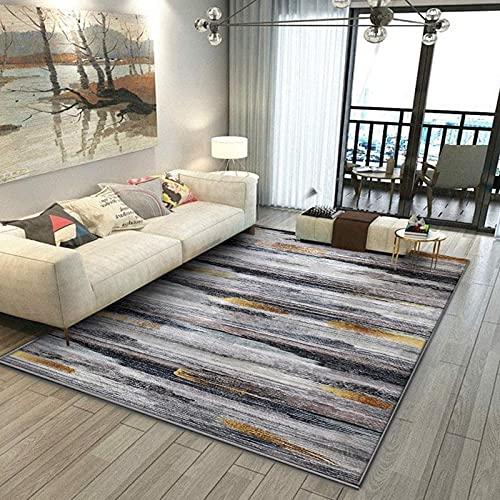Calore Alfombra artística tradicional para sala de estar, bohemia y única, alfombra vintage oriental envejecida (200 x 250 cm), diseño de rayas