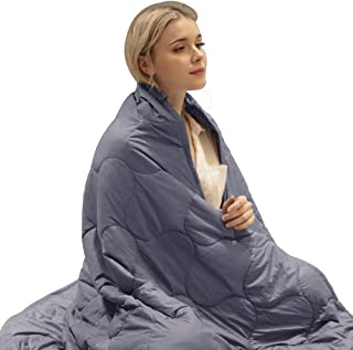DREAMFLYLIFE Weighted Blanket Cooling Heavy Sleeping Blanket for Child Adult Summer   300TC 100% Cotton with Class Beads (Dark Grey,WB-60x80-15lb)